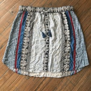 Tribal size L rayon blue, white & red skirt